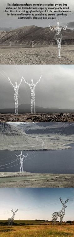 how Iceland mount their eletric power lines. via themetapicture. Realy nice.