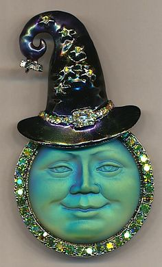 50) Seaview Moon Witch Pin Pendant http://KirksFollyStore.com/pins-and-brooches/