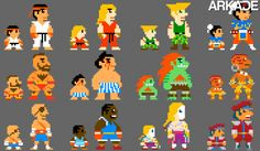 Street Fighter Characters in 8-bit version