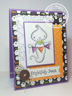 Card by Tracy Valure for SugarPea Designs.  Stamp: Eek-A-Boo.  SugarCut Dies: Zig Zag Stitched Rectangles.  Halloween Card.