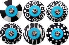Black White and Turquoise Hand Painted Swarovski Crystal Jeweled Drawer Pulls KNOBS via Etsy