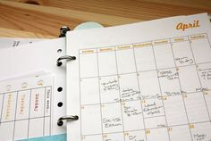 make your own planner with a three ring binder- duh, why didn't I think of that? you can make adjustments for things that work best for you