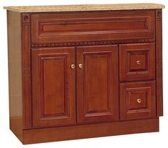 "JSI Newport Birch Bathroom Vanity Base Cherry 36"" Wood Frame, Right Hand Drawers traditional-bathroom-vanities-and-sink-consoles"