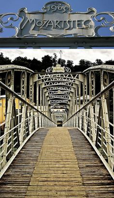 """The Mozartsteg is an Art Nouveau bridge for pedestrians in the city centre of Salzburg, Austria.  It is locally well-known for its neat design and gained international  """"fame"""" by being featured in the Hollywood movie """"The Sound of Music""""."""