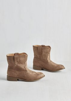 Travel Buddies Bootie in Taupe | Mod Retro Vintage Boots | ModCloth.com  These are the perfect everyday booties!!