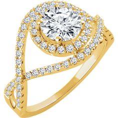 14kt White 3/8 CTW Diamond Semi-mount Engagement Ring for 6.5mm Round Center   Stuller