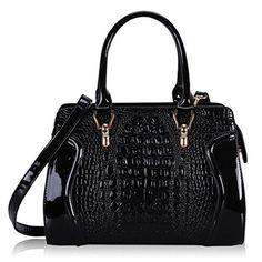 f74cafc4b86874 $29.99 & FREE ShippingHynes Eagle Crocodile Pattern Tote Bags Top  Handle Handbags (black)