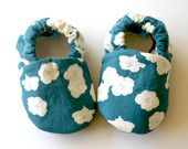 Poppies in Blue Organic Baby Girl Handmade 0 3 6 12 18 months Floral Print Shoes  Eco Friendly Children Clothing