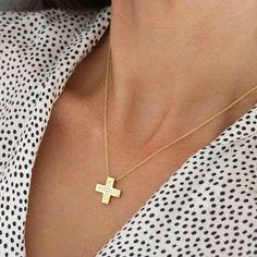 Tiny Square Diamond Solid Gold Cross Pendant, 14-karat Gold Cross Polished, Diamond Cross Necklace, Womens Christening Gold Cross