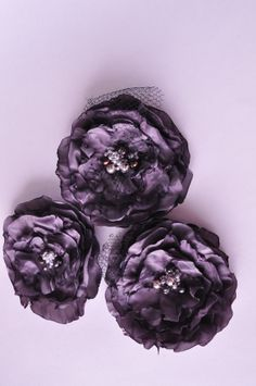 Grey and Black Set of 3 Handmade Flowers READY TO by c57Studios, $25.00