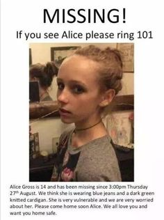 Hey. Could you all please spread this around Pinterest? We need to help find Alice. Thank you.