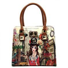 NX Fashion Girl Printed Padlock Satchel – Handbag-Addict.com