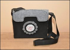 Felt Handbag, felt bag, Hand sewn felt bag pfone