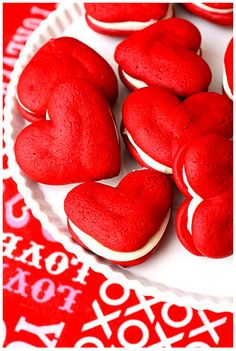 red velvet mini cakes with cream cheese frosting whoopie pies, making these for valentine's day♥