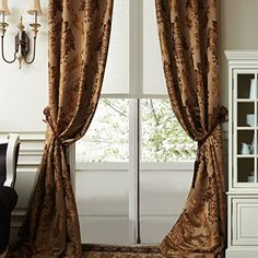 """IYUEGO Luxury European Style Jacquard Silky Heavy Fabric Grommet Top Lining Blackout Curtains Drapes With Multi Size Custom 100"""" W x 108"""" L (One Panel) -- Details can be found by clicking on the image."""