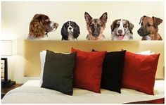Dog Wall Art..............not sure I would want all these dogs looking over my shoulder! I have three REAL dogs that do that already! LOL