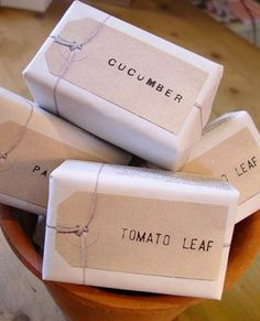 Wrapped soaps. Shower gifts.