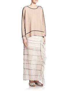 Brunello Cucinelli - Tiered-Stripe Silk Maxi Skirt