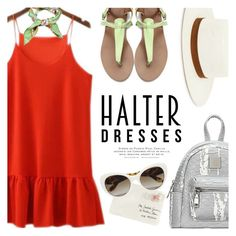 """""""Summer Halter Dress"""" by ivansyd ❤ liked on Polyvore featuring Gucci, Moschino, Janessa Leone, Prada, Theo and halterdresses"""