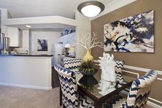 Dining Room Area with Accent Walls #morrisvilleapartments #durhamapartments #briercreekApartments #RTP