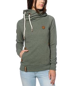 Make sure your cold weather needs are covered with the styling of this olive green pullover hoodie crafted with a heavyweight construction and a flattering slim fit.