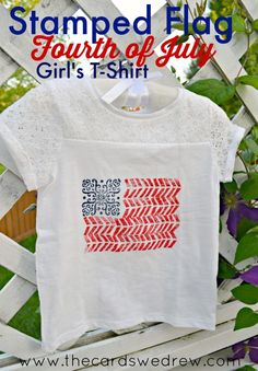 Stamped Flag Fourth of July Girl's Shirt #plaifcrafts #fabriccreations #ad
