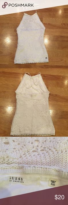 Guess white lace top Beautiful white lace sexy top by Guess. Excellent condition. Only worn once. Guess Tops