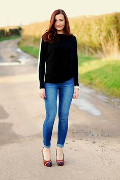 Black and white sweater and denim