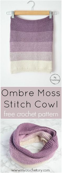 Ombre Moss Stitch Cowl is a modern crochet wearable working in a round and uses only two basis stitches. Perfect pattern for all linen stitch lovers. Free crochet pattern with a chart and color diagram on my blog www.mycrochetory.com