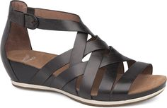 Dansko Shoes - The sophisticated yet casual Vivian Vintage Pull-Up is a strappy gladiator-style flat disguised as a fashion wedge. Leather upper with ankle wrap and adjustable strap. Dansko Shoes, Mules Shoes, Women's Shoes Sandals, Wedge Sandals, Shoe Boots, Hot Shoes, Heels, Comfortable Sandals, Shoes