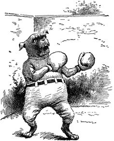 "An illustration of a dog wearing boxing gloves and pants from ""The Editorial Board of the University Society Boys and Girls Bookshelf (1920) via ClipArt ETC"