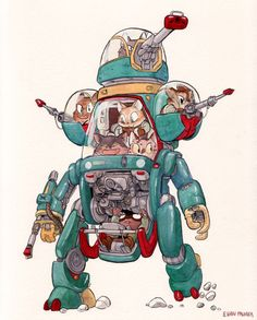 Here's a smaller mech with some kitties inside. I imagine that the two lower guys in the cockpit each control one arm which has got to...