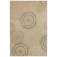 @Overstock - A gentle and neutral abstract circle design graces this stain-resistant, beige area rug. Beautiful and peaceful colors bring calm to the home, while the stain- and fade-resistant olefin give you security. Its slightly textured for a unique look.http://www.overstock.com/Home-Garden/Tranquility-Jules-Beige-Rug-79-x-1010/6972464/product.html?CID=214117 $192.99