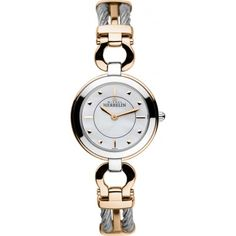 Womens Stainless Steel and Rose Gold Cable Maxi Watch