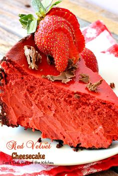 Red Velvet Cheesecake | Can't Stay Out of the Kitchen | this outrageous #dessert has an #Oreo, almond & chocolate chip crust and is filled with milk #chocolate & cream cheese for a velvety, creamy texture you'll love. CAN MAKE WITHOUT RED DYE!!!