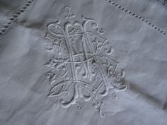 Antique French Pure Linen Pillowcase White Embroidery Gorgeous Monogram MB in Antiques, Linens & Textiles (Pre-1930), Bed & Bath Linens, Pillowcases | eBay
