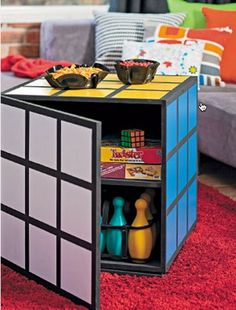 Rubik Cube storage and coffee table found on Better Homes & Gardenshttp://yhoo.it/1vCj5EH