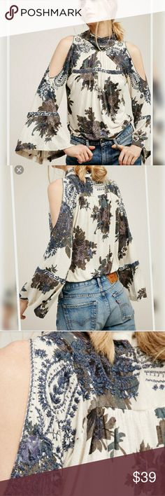 🥀free people bainbridge  embroidered cutout embroidered cutout black blouse used once great condition so much pretty in person 😍 Free People Tops Blouses