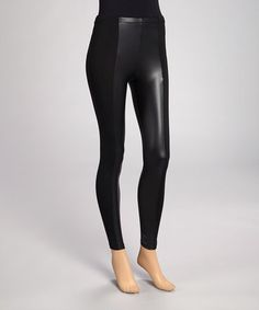 Take a look at this Black Faux Leather-Trim Leggings by Collection 18 on #zulily today!
