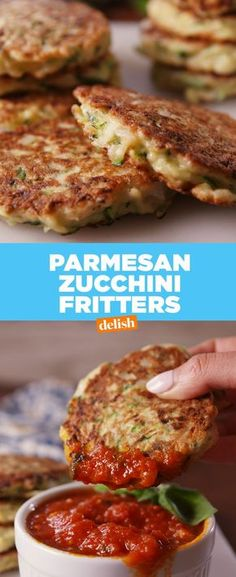 Parmesan Zucchini Fritters -- a healthier appetizer idea Vegetable Recipes, Vegetarian Recipes, Cooking Recipes, Healthy Recipes, Shredded Zucchini Recipes, Vegetarian Tapas, Vegetarian Burgers, Zuchinni Recipes, Tapas Recipes