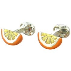Deakin & Francis Sterling Orange Fruit Wedge Cufflinks | From a unique collection of vintage cufflinks at http://www.1stdibs.com/jewelry/cufflinks/cufflinks/