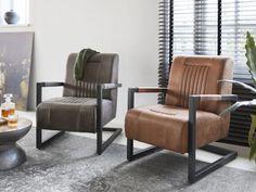 Senga fauteuil, industrieele fauteuil uit de IN.House collectie. #onderuit #relaxen #fauteuil #industrieelframe #cognac #antraciet #IN.House