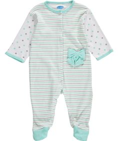 """Bon Bebe Baby Girls' """"Dotty Sleeves"""" Footed Coverall - CookiesKids.com"""
