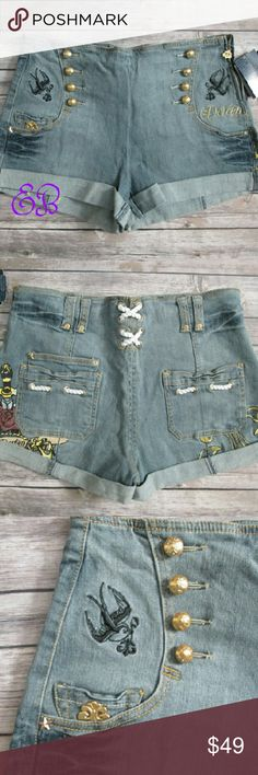 """Dereon Sailor Moon Denim Shorts Size 11/12 Dereon Sailor Moon Denim Shorts Size 11/12  Condition: NWT   Type: Shorts Style: High Waist Wash: Med Wash Features: Gold buttons, embroidery, graphic and Rope Brand: Dereon Size: 11/12 Measurements: Waist 32""""; inseam 2.5"""";  rise 12"""" Materials: 98% Cotton 2% Spandex Country of Manufacturer: China  DD 11.2.17 Dereon Shorts"""