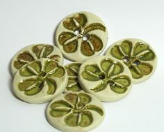 sweet shamrock Handmade Ceramic Stoneware Buttons.