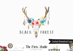 Rustic Floral Antler Logo Design - website logo, boutique logo, creative business branding