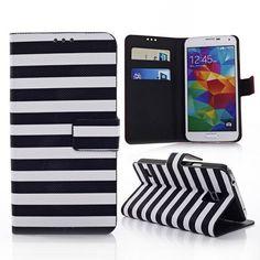 Zwart / wit gestreepte bookcase voor Samsung Galaxy S5
