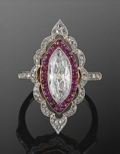marquis diamond ring with filigree ruby /  diamond double halo