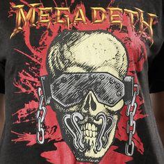 vintage 80s 1987 MEGADETH Heavy Metal Rock Concert tour band skull top T SHIRT