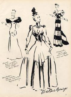 René Bouët-Willaumez 1938 Molyneux, Chanel, Schiaparelli, Evening Gown